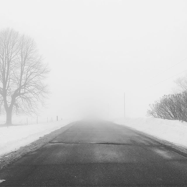 It might be foggy... #fog #imagesbyee #tincatstudio #foggyday #photography #cellphonephotography #instagood #wisconsinwinter #spring #moodyphotography #moodynature #landscape #road #roads