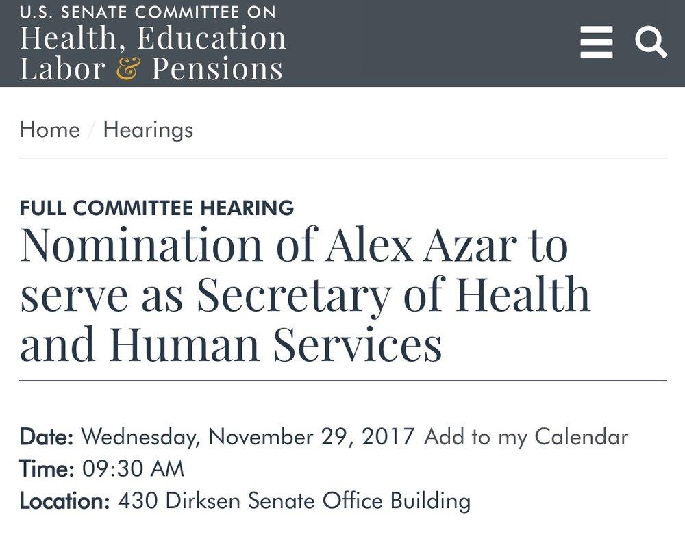 T1DFu0027s Letter To The U.S. Senate H.E.L.P. Committee And Follow Up Questions  Regarding The Nomination Of Alex Azar U2014 T1DF