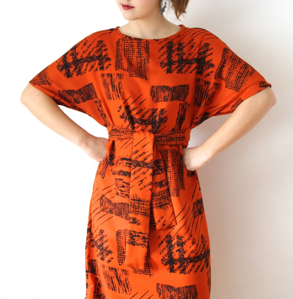 Belted frock in Orange Crosshatch
