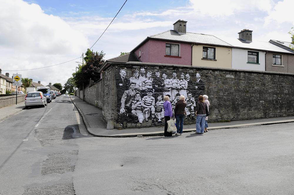 Image of  Sligo All Stars  soccer team (precursors of  Sligo Rovers ) on former wall of the British Army Barracks at Barrack Street.