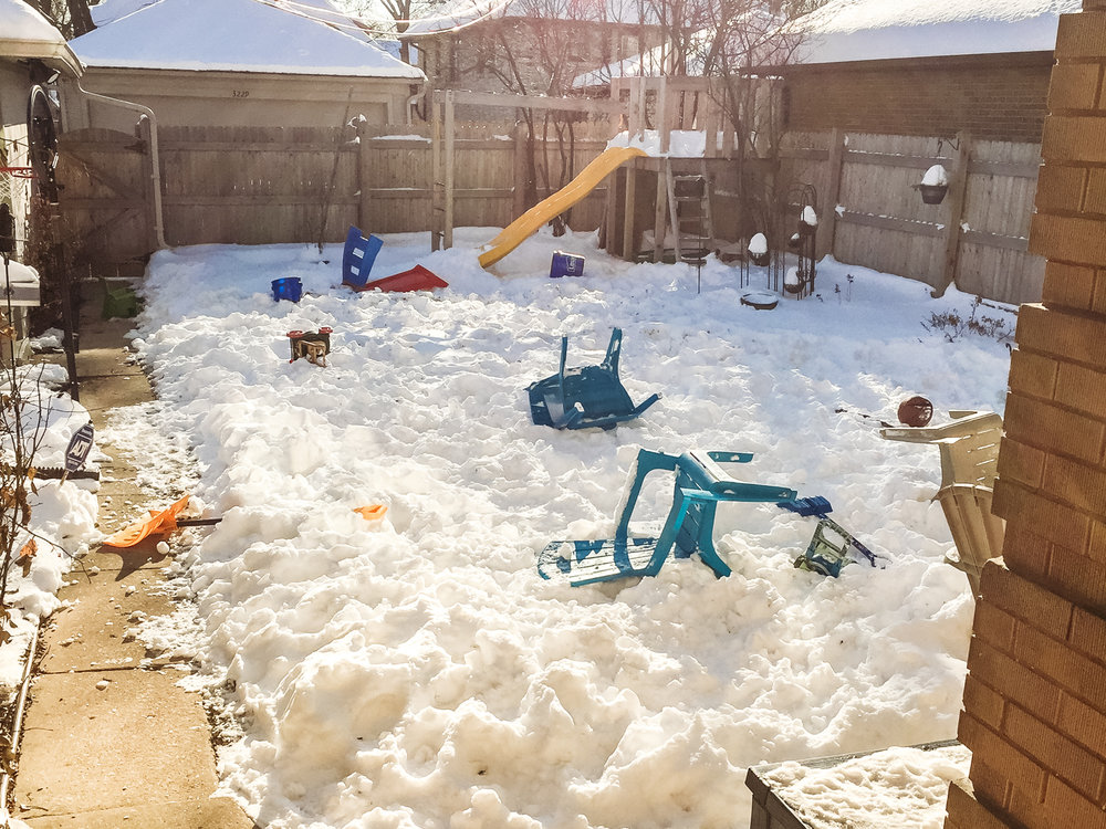 This is a quick iPhone photo of the current state of my backyard. (Aaah, this is embarrassing)