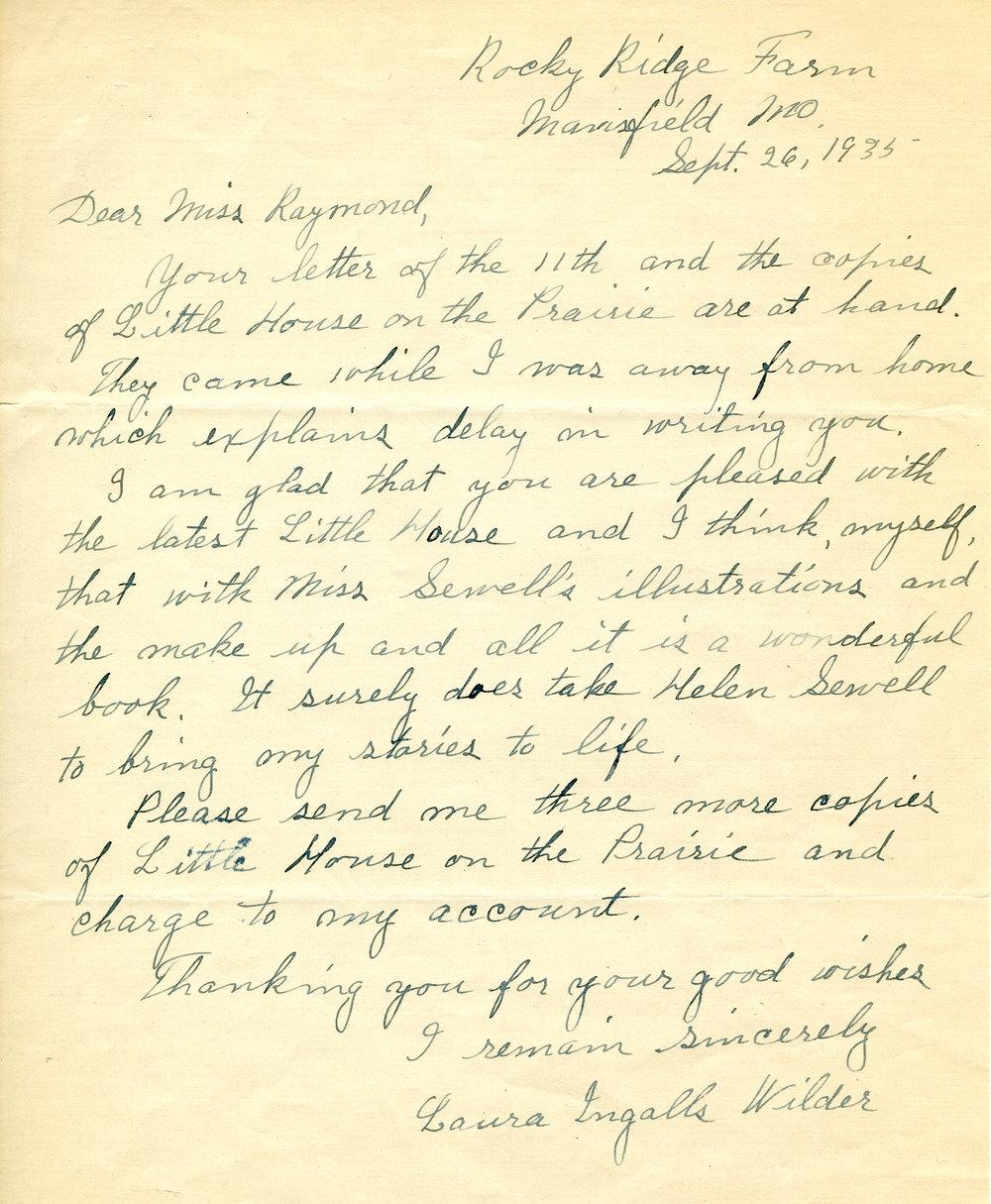 Hand-written letter, Laura Ingalls Wilder