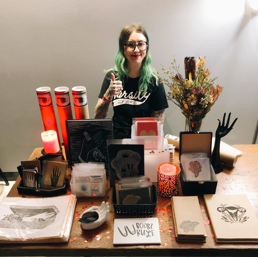 I recently had a little pop-up at a new club in Madison! My friend runs a monthly drag show there & invited me to sell some goods before/during the show for last minute Valentine's Day gifts! It was a blast!
