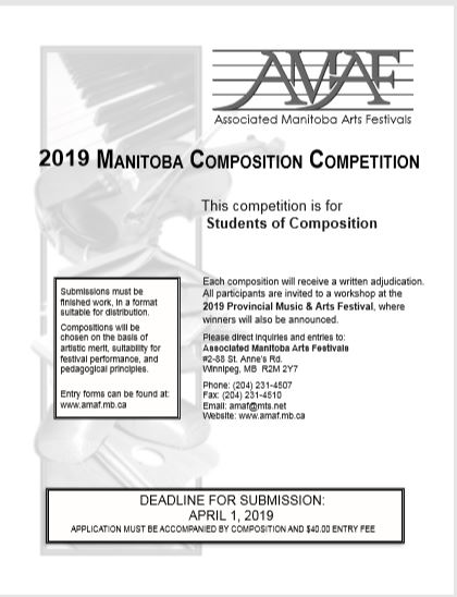 2018 Manitoba Composition Competition poster