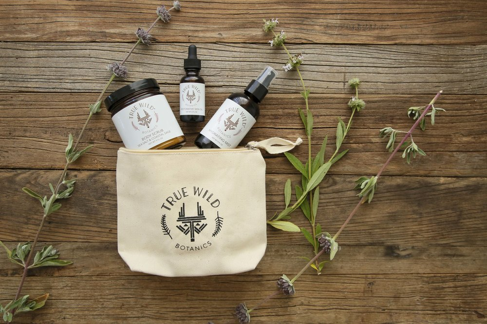 True Wild Botanics- Sea Salt and Coastal Sage Scrub-Hydrating Mist-Restorative Skin Oil-Canvas Zipper Pouch