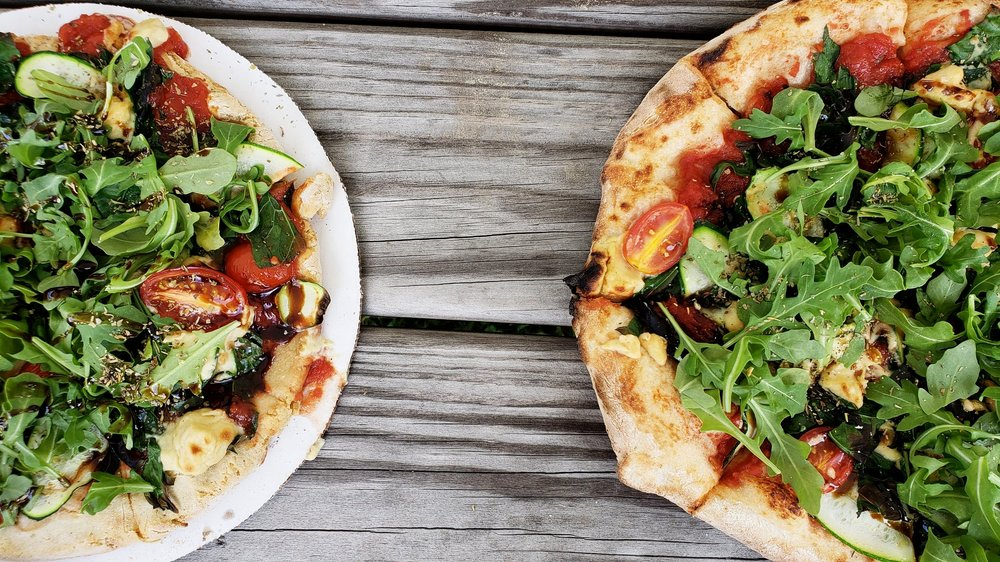 *Pizza by Fired Up Flatbread We bring our homemade NOTzarella Pearls and they add them to our pies! Talk about accomodating <3