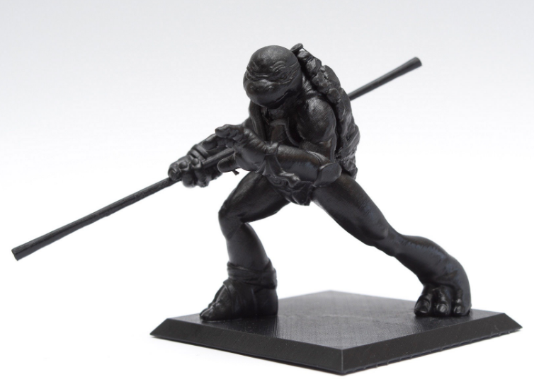 Black Formlabs Resin print of the TMNT Donatello - Model by me, picture taken by Ken Giang