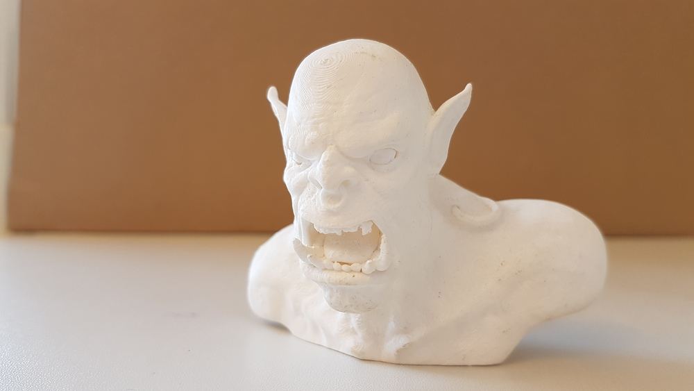 White PLA print of Warcraft Orc - Model and picture by me