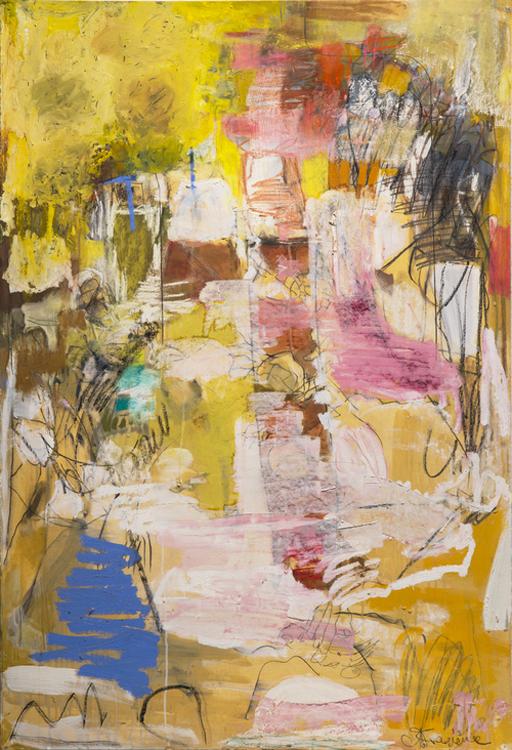 Cianne Fragione  Processione (Don Francisco)  Lithographic crayon, Conté crayon, graphite, chalk pastel, oil sticks, and oil on paper 43 1/2 x 30 1/2 inches
