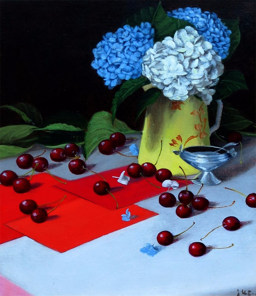 Still Life with Hydrangeas In Primary Colors, 2014