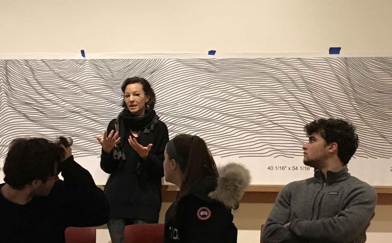 Museum Commissions Interactive Wall Drawing by Artist Linn Meyers - Who Will be Artist-in-Residence at Bowdoin in Fall 2018