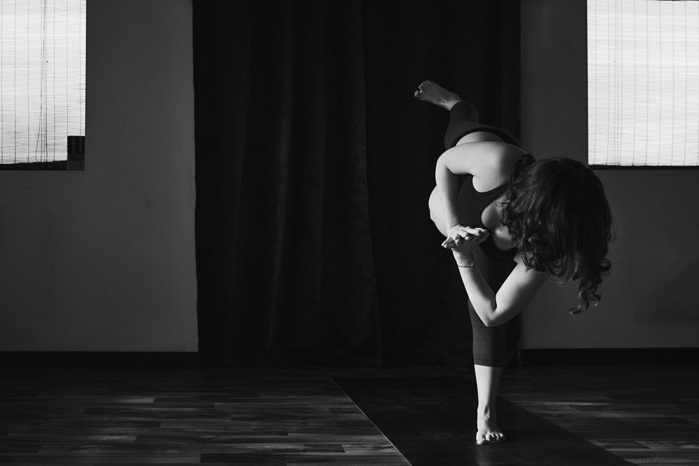 Black and white RVA birth photographer photographs pregnancy at The Yoga Dojo