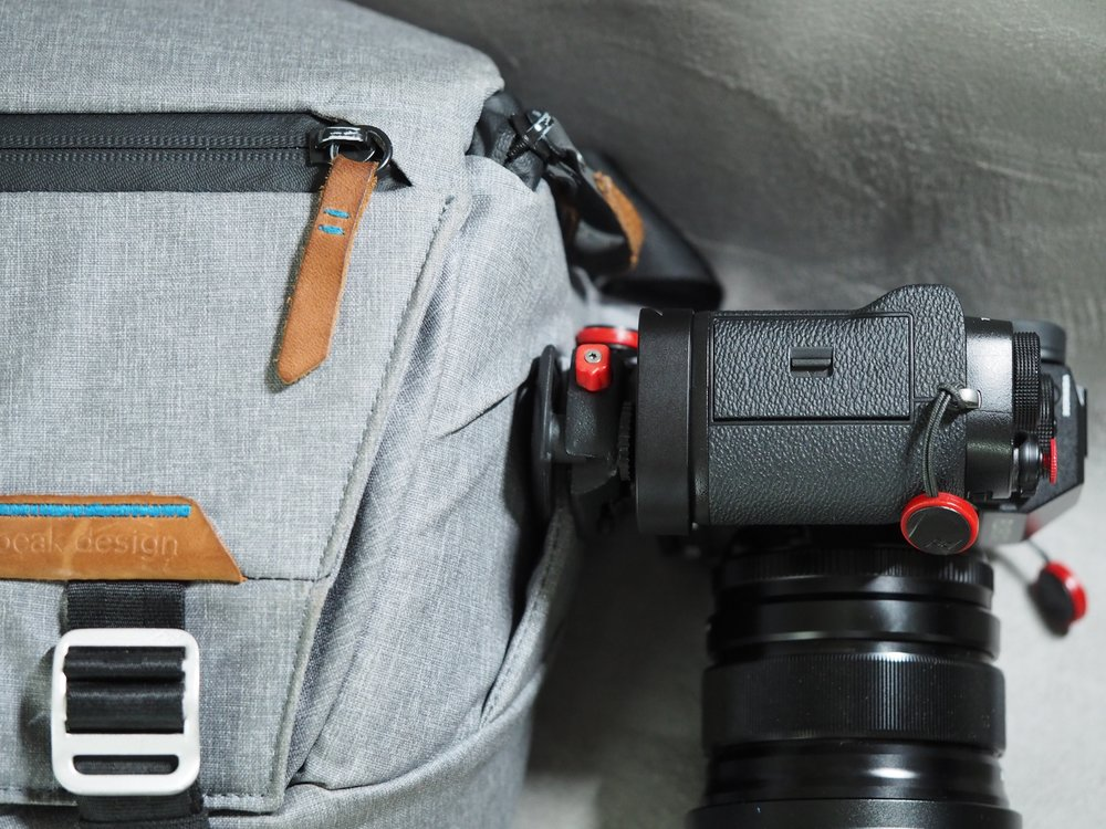 The X-T2 with L Bracket, secured on a a Capture plate mounted on an Everyday Sling, with the new anchors attached directly on the camera.