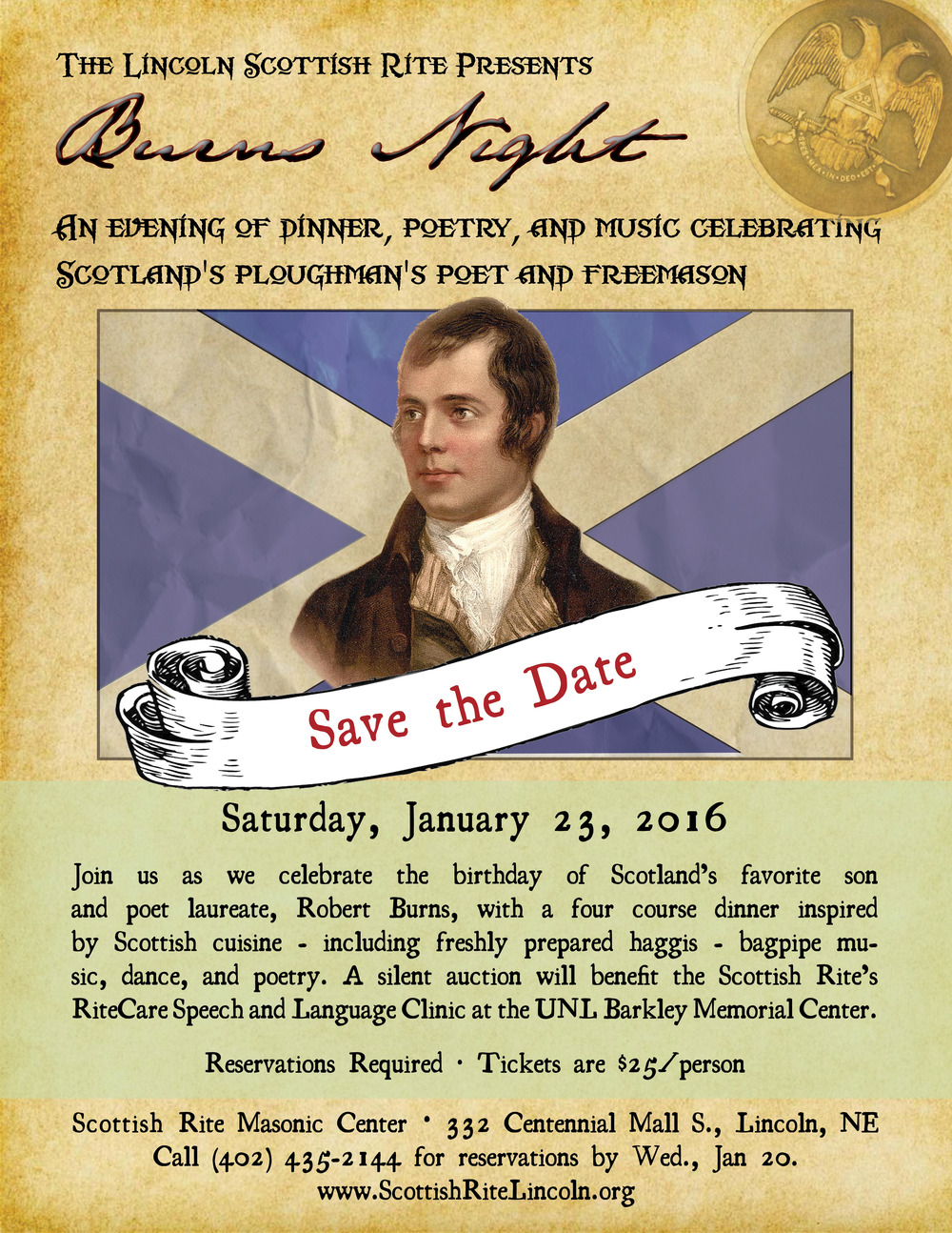 The 2016 Robert Burns Dinner flier