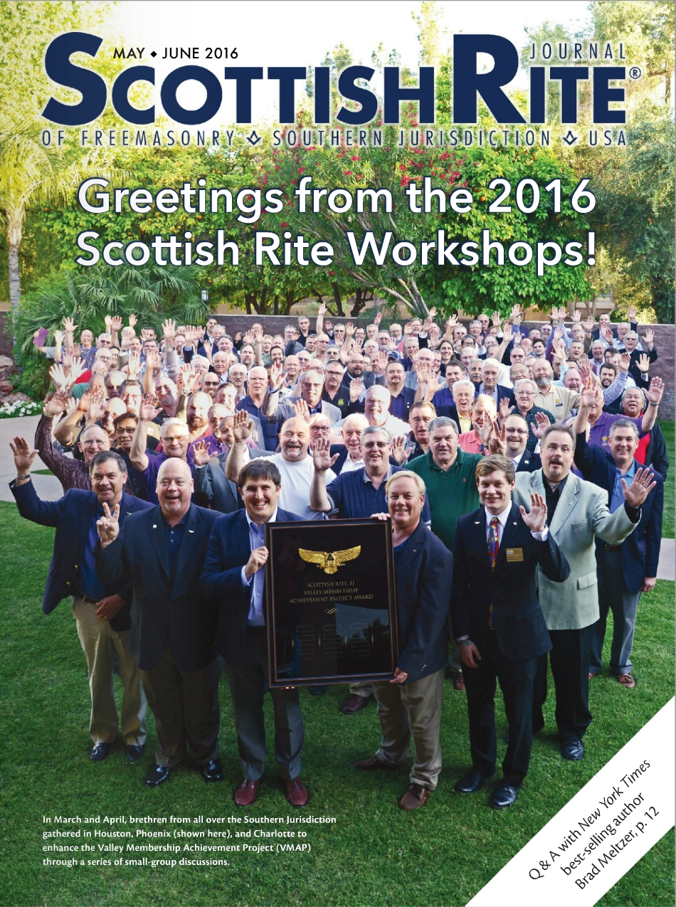 May-June 2016  Scottish Rite Journal , featuring Scottish Rite Masons at the Phoenix Leadership Workshop in April, holding up a VMAP plaque.