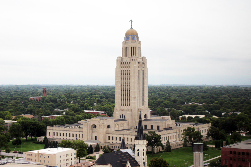Wonderful view of the State Capital from the Nebraska Club