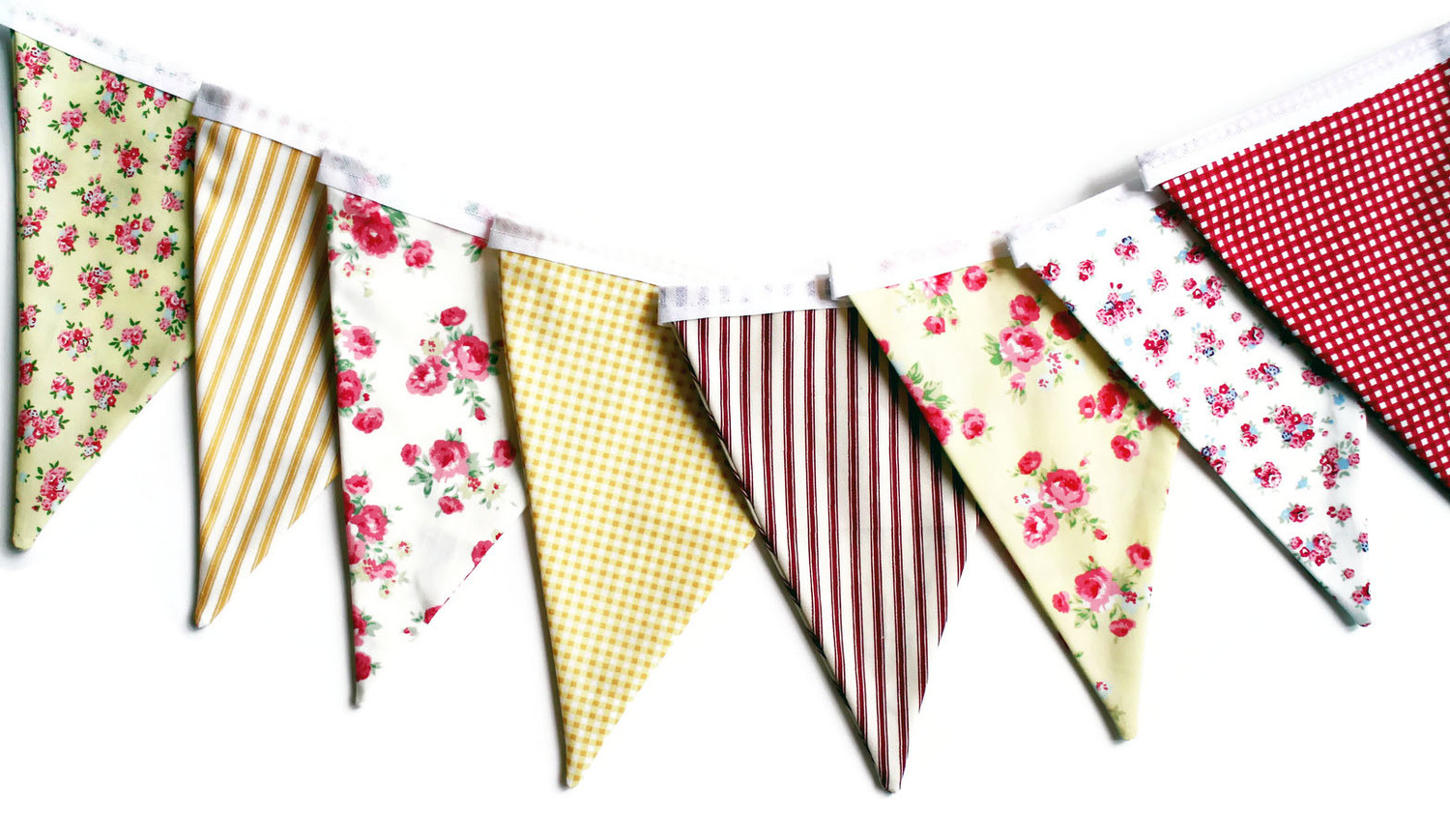 yellow floral vintage bunting handmade by monica bunting for all