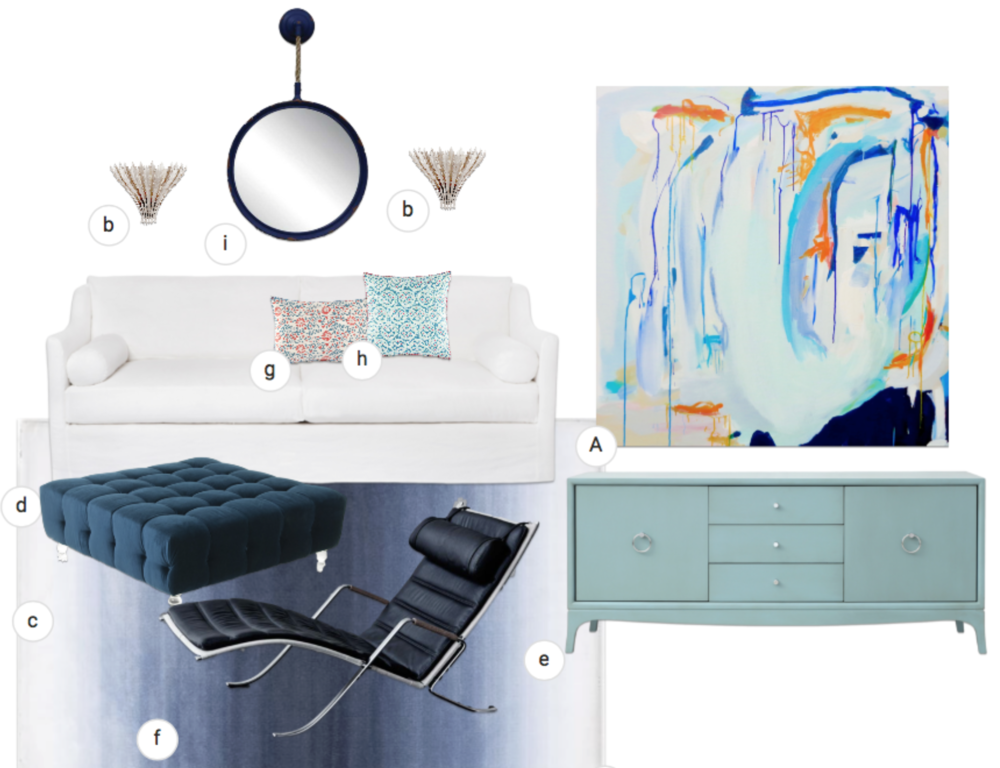 A. Artwork by Susan Skelley b. Hampton sconces by Aerin Lauder c. Tufted ottoman with acrylic legs from Mod Shop d. Dalia sofa by Cisco e. Fiona console by Redford House f. Grasshopper chair by Montauk Sofa g. & h. throw pillows by John Robshaw
