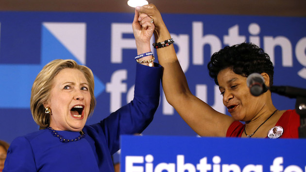 Clinton with Geneva Reed-Veal (mother of Sandra Bland) via  Mother Jones