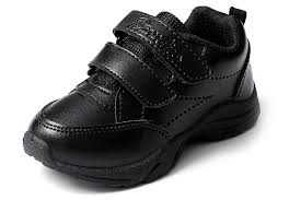 Black leather style velvro shoe