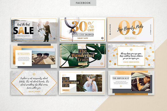 GOLDEN social media pack by Marigold Studios on Allie Williams Co. 10 Best Social Media Templates for Bloggers on Creative Market