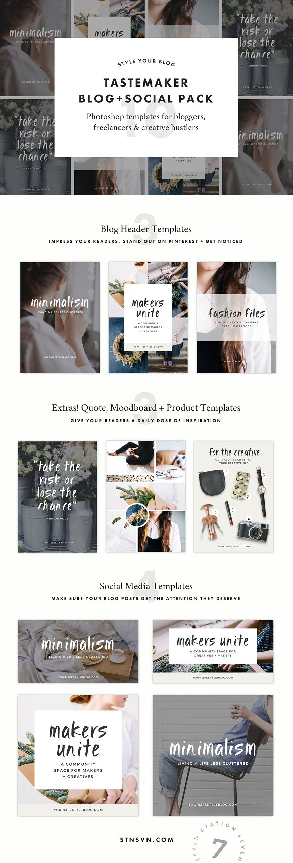 The 10 Best Social Media Templates for Bloggers on Creative Market: tastemaker blog + social media pack by Station Seven