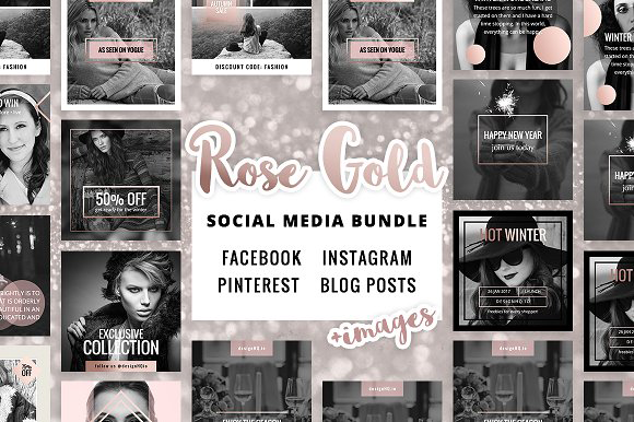 The 10 Best Social Media Templates for Bloggers on Creative Market: Rose Gold Social Media Bundle by DESIGN HQ