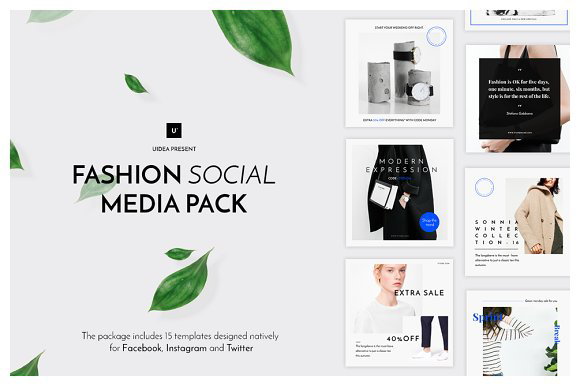 The 10 Best Social Media Templates for Bloggers on Creative Market: fashion social media pack by UideaTM
