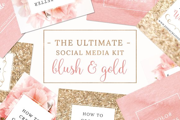 The 10 Best Social Media Templates for Bloggers on Creative Market: Blush & Gold Social Media Pack by Essem Creatives