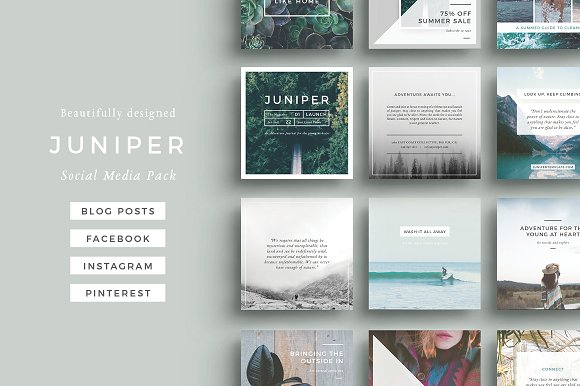The 10 Best Social Media Templates for Bloggers on Creative Market: Juniper Social Media Pack by 46&2 Creative