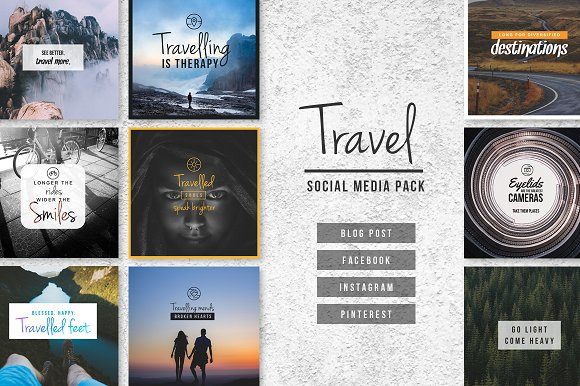 The 10 Best Social Media Templates for Bloggers on Creative Market: travel social media pack by designbase