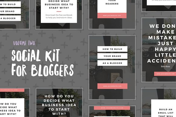 The 10 Best Social Media Templates for Bloggers on Creative Market: social kit for bloggers by authority