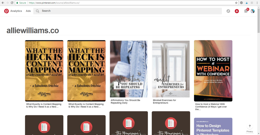 How to See What's Being Pinned From Your Website onto Pinterest // Allie Williams Co.