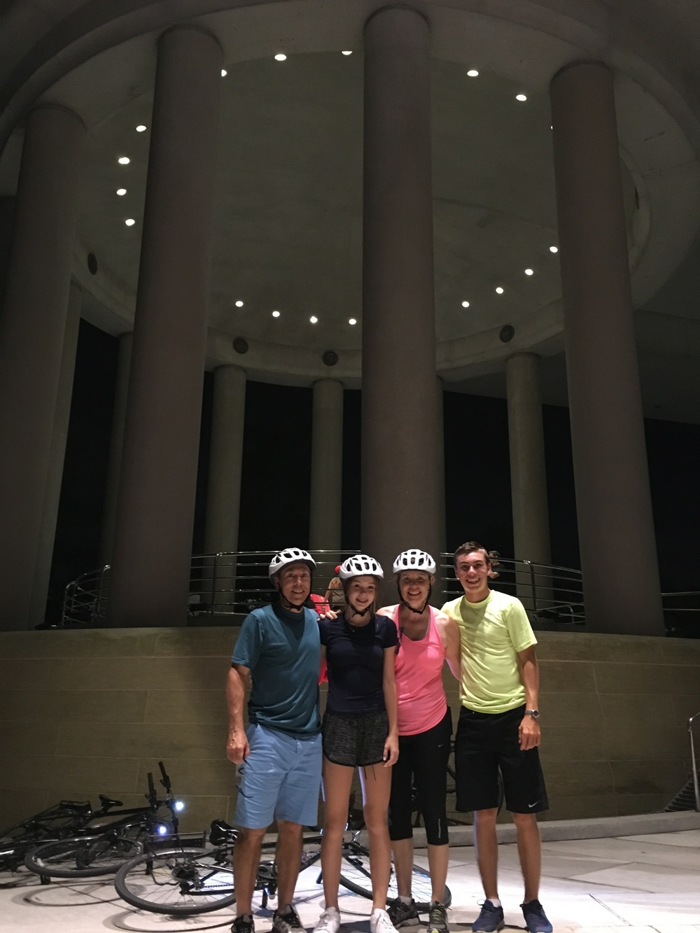 The Horwood family of Toronto visiting the Rotunda of the Provinces at the Embassy of Canada and the cool echo chamber effect