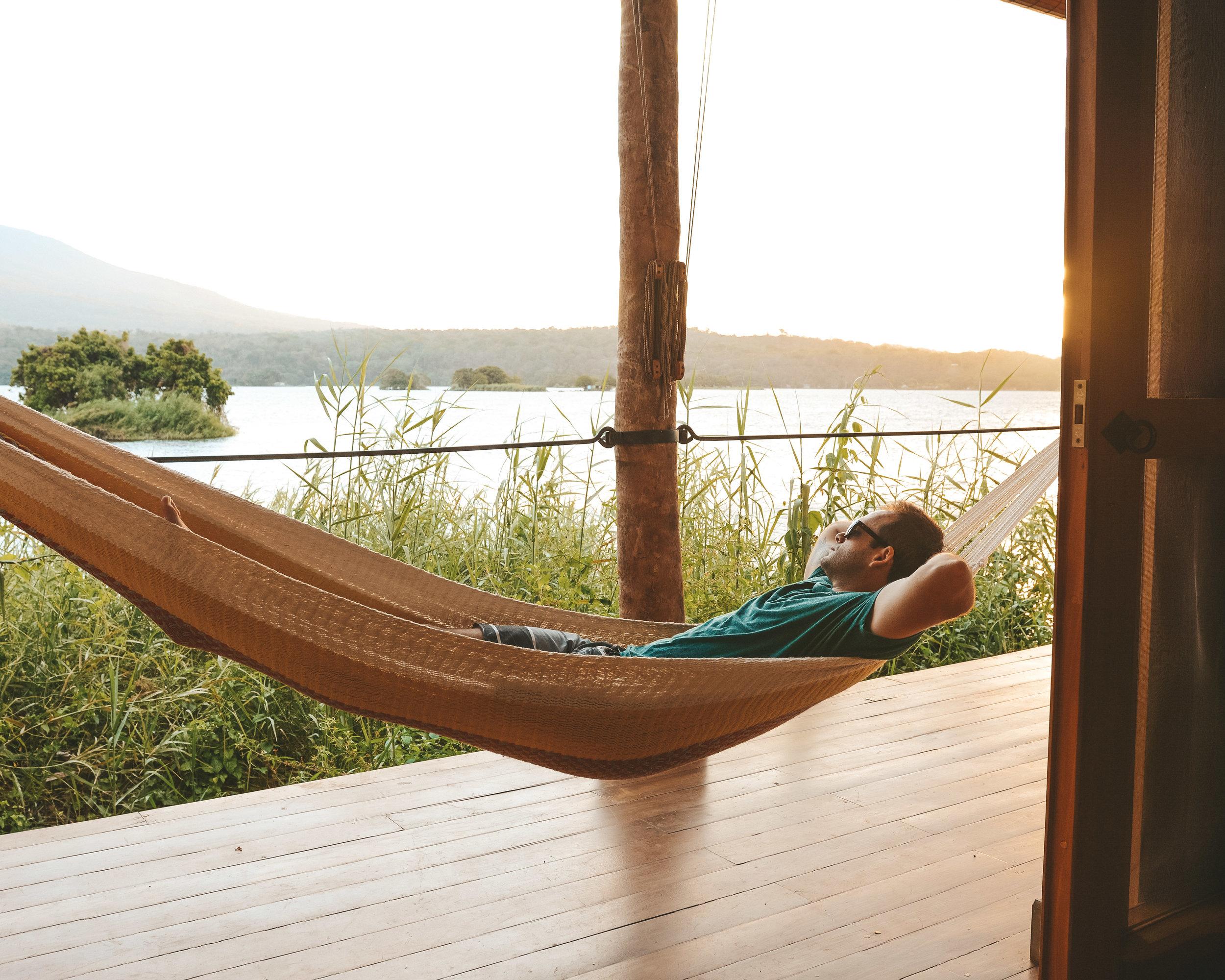Hanging in the hammocks at Isleta el Espino