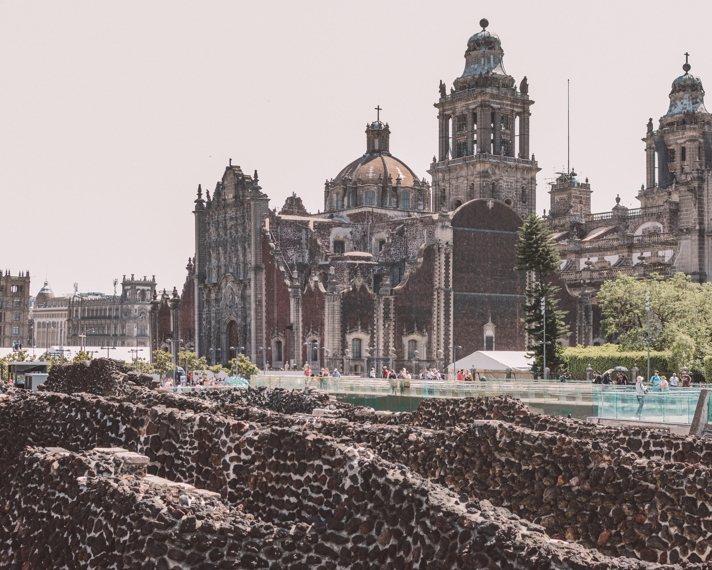 Templo Mayor and the Metropolitan Cathedral, Mexico City