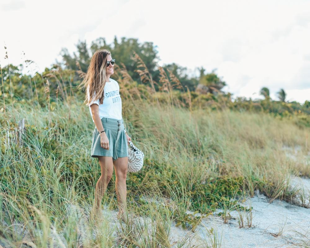 Zara Complete Outfit Tee    /    Zara Linen Shorts    /    Zara Handwoven Bag    /    Wanderer Bracelet