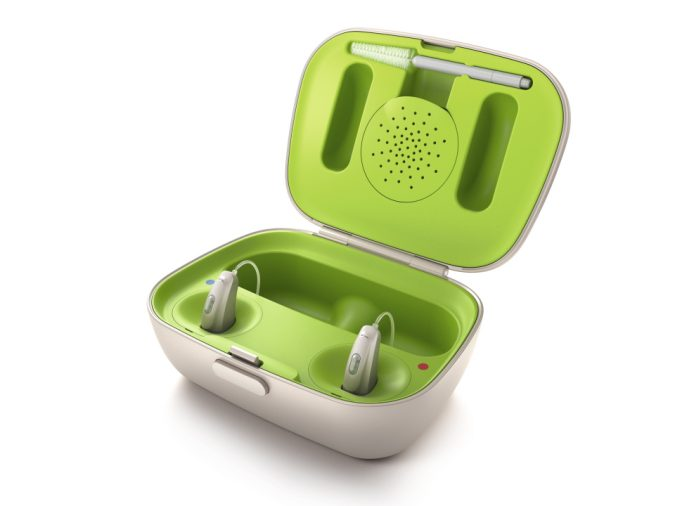 Phonak Rechargeable Hearing Aids and Charging Station