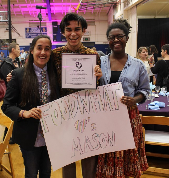 "Congratulations, Mason!   (This is Mason. Mason uses ""they/them"" pronouns.)   FoodWhat Event Planner and Community Educator, Mason Franco, just received a 2018 Queer Youth Leadership Award (QYLA)! Mason won this award for their work at the intersection of gender and food justice. The QYLA is a one-of-a-kind event and significant recognition of four powerful and change-making countywide youth leaders."