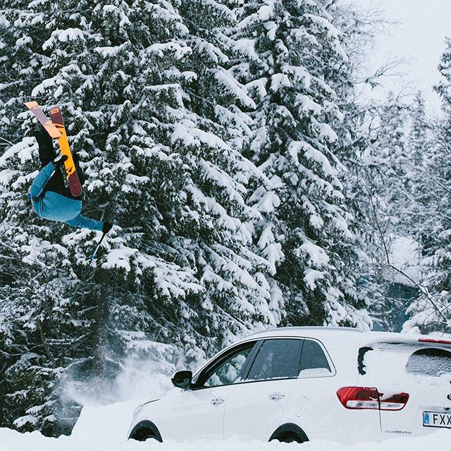 That one time when @oscarwester took some air over a @kiamotorssweden.  Tomorrow - #japow!  ____________________ • Canon 1Dx mk2 | Canon 70-200mm f/2.8 IS II •