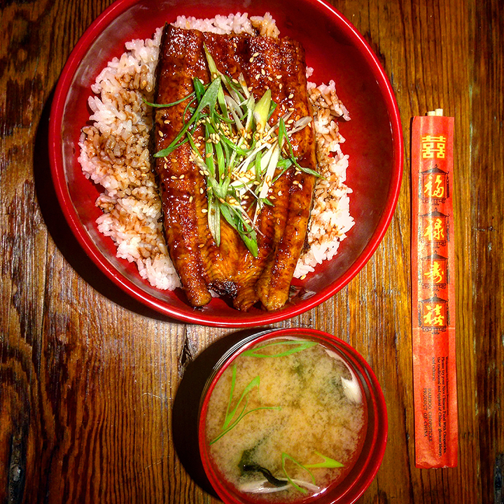 Unagi Don and Miso Soup   grilled eel, rice, scallion, toasted white sesame, seaweed, miso soup