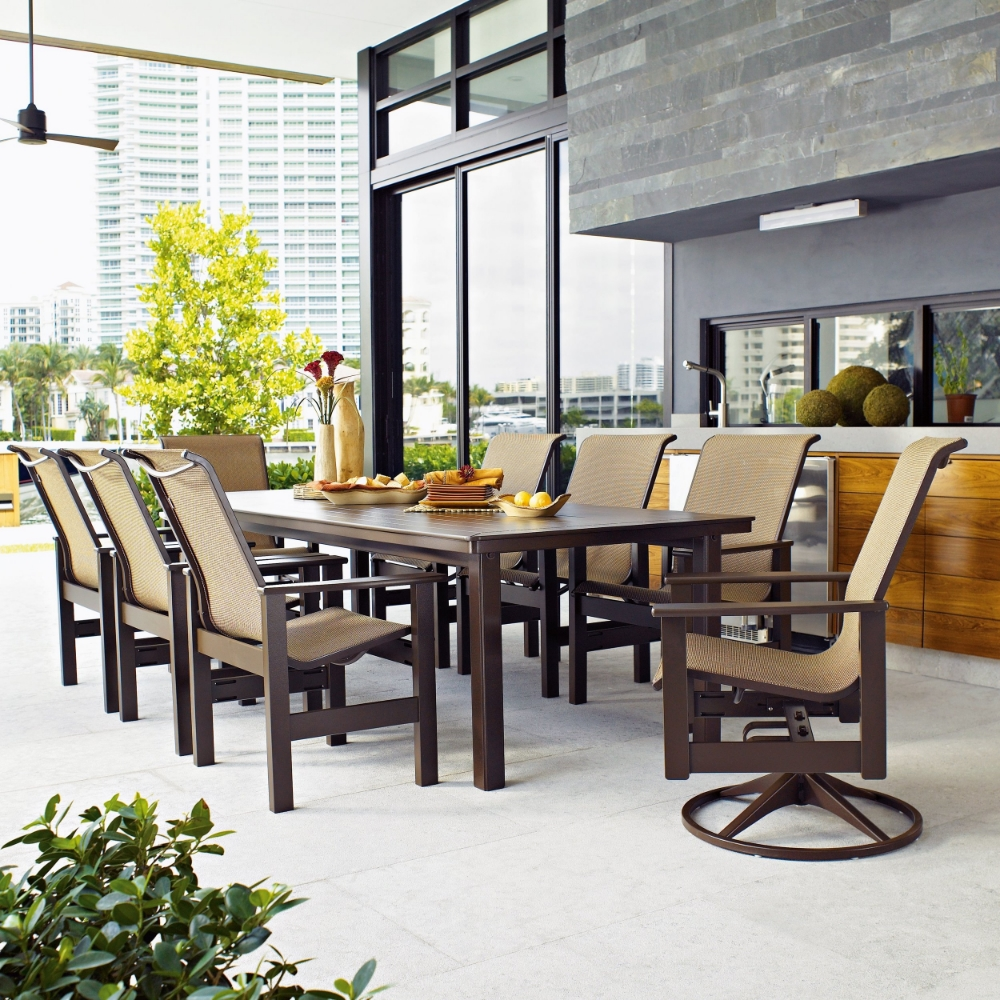 weather cushion piece brown all bay set wicker dining hampton patio reddish with outdoor pin kapolei