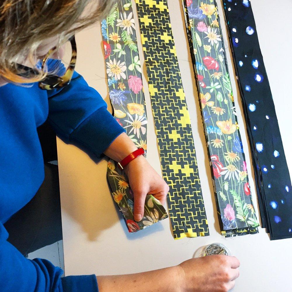 pinning fabric strips