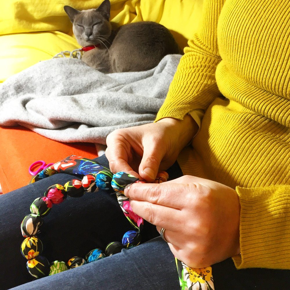 stitching in the beads