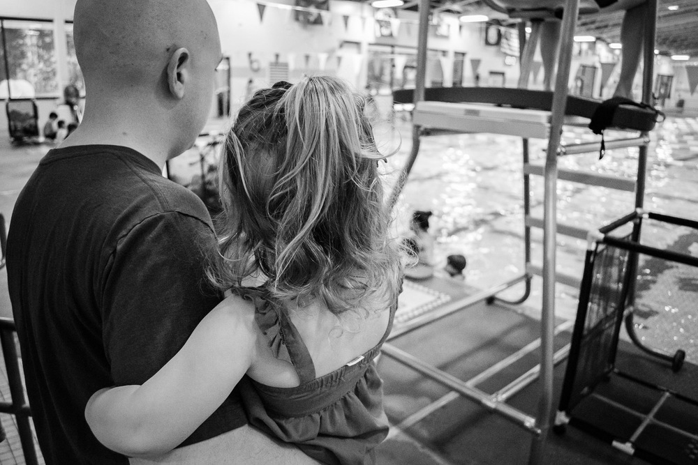 father daughter, swim lessons, documentary and lifestyle family photography