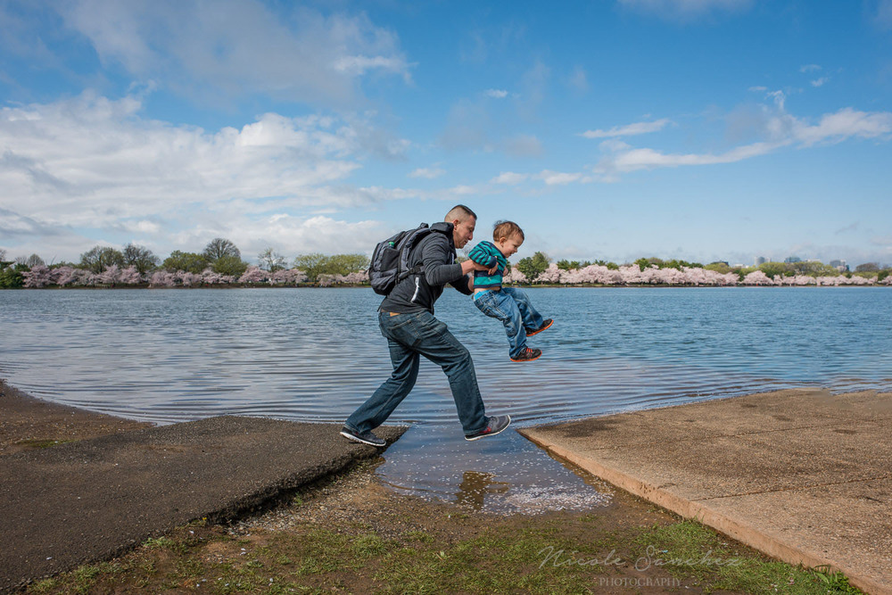 DC family documentary and lifestyle photography, Cherry Blossoms, Tidal Basin