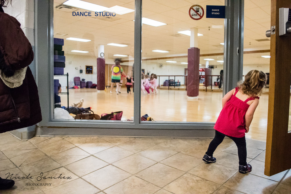 little girl watching dance class | Springfield, VA Family Photographer