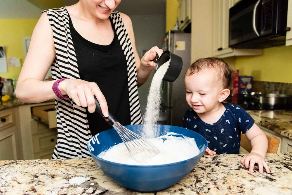 Mom baking with toddler by Northern Virginia Family Photographer Nicole Sanchez