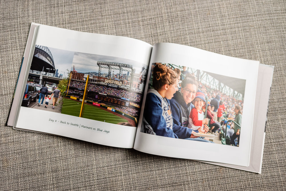 Open photo book with pictures of family vacation by Nicole Sanchez Photography