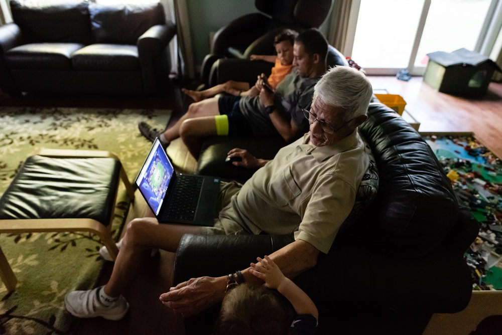 Father son and Grandpa screen time by Northern Virginia Family Photographer Nicole Sanchez